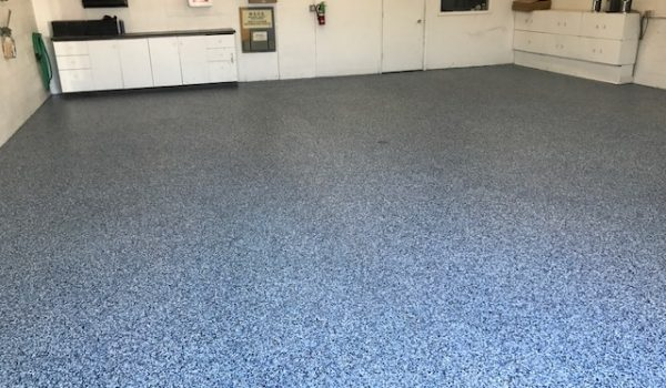 Blue Epoxy Flooring in Garage